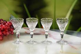 vintage martini glasses vintage etched crystal cordial port wine glasses set of 4 wine
