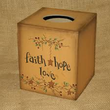 Home Decor Star by Faith Hope Love Tissue Box Cover Rustic Country Home Decor Star