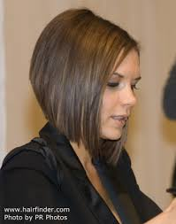 shorter back longer front bob hairstyle pictures victoria beckham s a line bob with a graduated shorter back and