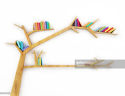 wooden bookshelf shaped like a tree with multicolor books stock