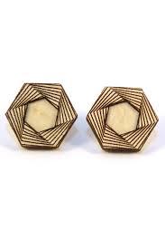 wood stud earrings amulet dope wood hexagon studs fool s gold