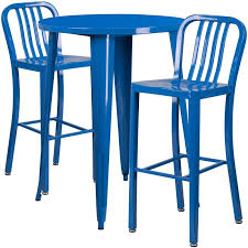 metal bar table set ihome nicollet round 30 blue metal table set w 2 vertical slat