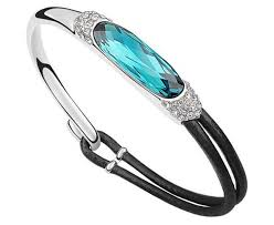 swarovski crystal leather bracelet images La javardi leather bracelet with blue swarovski elements crystal jpg