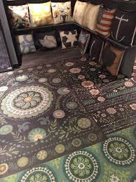 flooring vintage vinyl floral hexagon floorcloth sturbridge