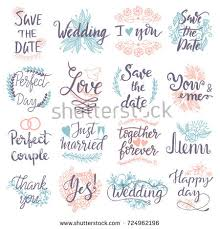 wedding wishes phrases typography save date quote stock vector 724962196