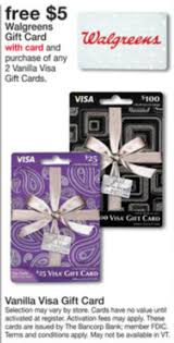 5 dollar gift cards free 5 walgreens gift card with purchase of 2 vanilla visa gift