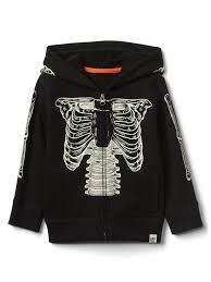 halloween glow in the dark skeleton zip hoodie gap