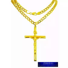 mens necklace with cross images Saudi gold 18k mens necklace with cross pendant yellow gold webp
