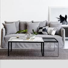 designer melrose square marble coffee table set black metal base