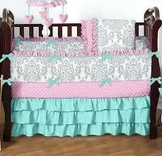 Pink Gray Baby Bedding Damask Crib Bedding Set Pink And Grey