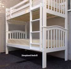White Wooden Bunk Bed Cosmos Madrid White Wooden Bunk Beds By Sleepland Beds