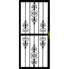 Door Grill Design Grisham 32 In X 80 In 309 Series Black Prehung Heritage Steel