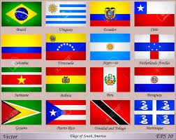 South America Flags Flags Of South America With Names Of Countries Royalty Free