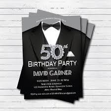 man 50th birthday invitation black tie and suit diamond