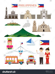 philippines jeepney vector philippines landmarks architecture building object set stock