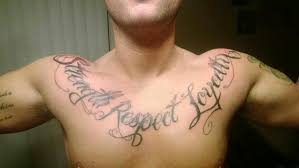 chest tattoo of strength respect and loyalty tattoo ideas center