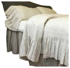 linen ticking striped bedding with mermaid long ruffles