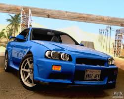 nissan skyline r34 paul walker nissan skyline gt r r34 2 fast 2 furious for gta san andreas