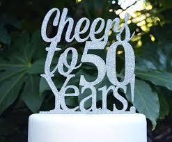 cheers to 50 years birthday anniversary cake topper 50th