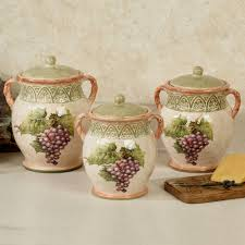 kitchen canisters and canister sets touch of class sanctuary wine kitchen canisters multi earth set of three