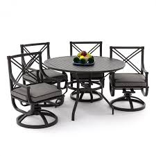 White Aluminum Patio Furniture Sets by Audubon 5 Piece Aluminum Patio Dining Set With Swivel Rockers And