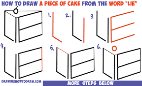 how to draw a piece of cake from the word