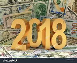 new year dollar bill golden number 2018 new year against stock illustration 770808655