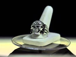new skull brain skeleton tribal tattoo design ring sterling silver