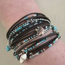 silver leather wrap bracelet images Triple leather wrap bracelet with silver accents and turquoise jpg