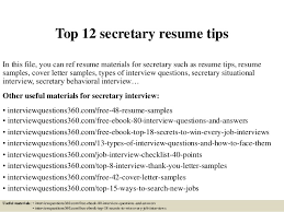 Resume Sample For Secretary by Top 12 Secretary Resume Tips 1 638 Jpg Cb U003d1427966630