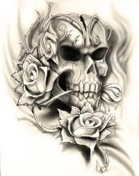 skull rose tattoo design by neogzus on deviantart