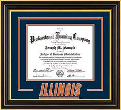 of illinois diploma frame u of illinois diploma frame flat black w illinois 3d navy on orange