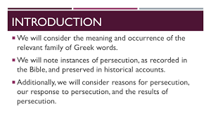 the history of persecution introduction we will consider the