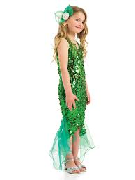 girls little mermaid fancy dress costume green sequin kids