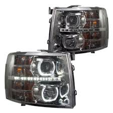 2008 chevy silverado led tail lights chevy silverado 2007 2013 smoked halo led drl projector headlights