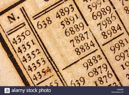 Logarithm Table Logarithm Table In A 200 Years Old Mathematics Book Stock Photo