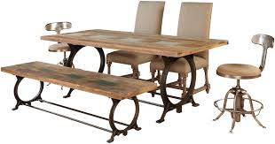 Esszimmerbank Oval Jadu Accents Rectangular Dining Room Table With Industrial Metal