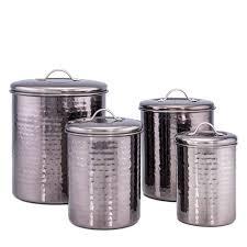 black kitchen canister black pearl hammered 4 kitchen canister set