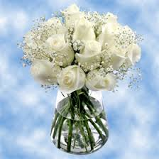 white and blue floral arrangements white roses with babys breath floral arrangements global