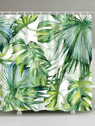 Shower Curtain Green Fern Plants Watercolor Shower Curtain With Hooks Yellow Green W
