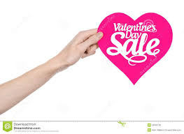 s day and sale topic holding a card in the form of