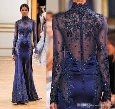 cheap zuhair murad high neck lace formal evening dresses long