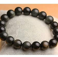 sterling silver bracelet beads charms images Natural obsidian beads charms 925 sterling silver bracelet jpg