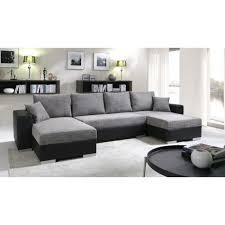 canapé grand grand canapé panoramique réversible enno gris et noir achat