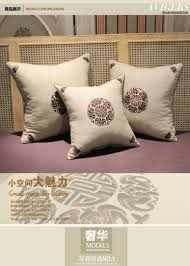 Cushion Core Chinese Embroidery Pillow Cotton Linen Headboard Sofa Office