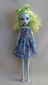 handmade monster doll clothes blue print monster dress