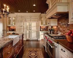 classic kitchen decoration beautiful red brick backsplash sink