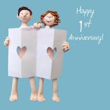 paper anniversary happy 1st paper anniversary greeting card one lump or two cards