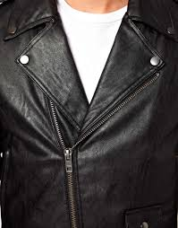 leather biker jackets for sale anerkjendt asos faux leather biker jacket in black for men lyst