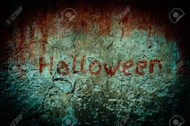 halloween creepy background bloody stain on dirty wall with vintage and vignette tone